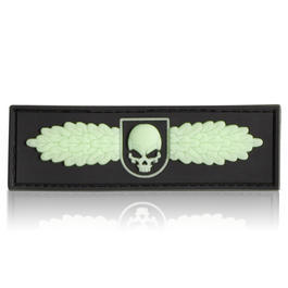 3D Rubber Patch SOF Skull Badge schwarz glow nachleuchtend