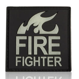 3D Rubber Patch Fire Fighter schwarz glow nachleuchtend