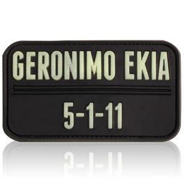 3D Rubber Patch Geronimo EKIA schwarz glow nachleuchtend
