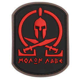 3D Rubber Patch Molon Labe Spartan red