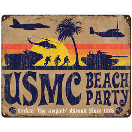 7.62 Blechschild USMC Beach Party