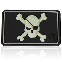 3D Rubber Patch Pirate Skull glow schwarz nachleuchtend