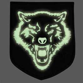 3D Rubber Patch Wolf nachleuchtend