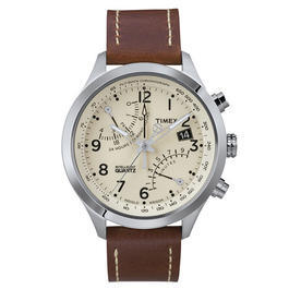 Timex Intelligent Quartz Racing Flyback Chronograph weiss Lederarmband braun