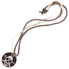 Pure Trash - Pure Trash Halsband Totenkopf Leder braun
