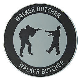 3D Rubber Patch Walker Butcher rund grau/schwarz