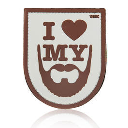 101 INC. 3D Rubber Patch I love my beard sand/braun