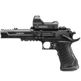 Walther Luftpistolen - Umarex Race Gun Set mit Leuchtpunktvisier 4,5 mm BB CO2Blowback Pistole schwarz