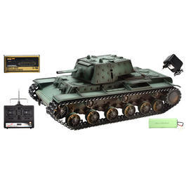 Panzermodell - Torro RC Panzer KV-1 mit Metallketten 1:16 schussfähig RTR grün