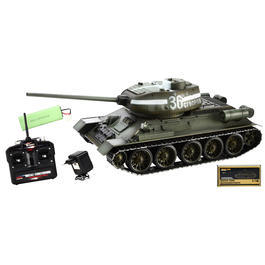 Panzermodell - Torro RC Panzer T34/85 1:16 Metallketten schussfähig grün inkl. Holzkiste 1112400400