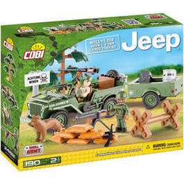 Cobi Small Army Bausatz Jeep Willys MB mit 1/4 Ton Cargo Anhänger 190 Teile 24192