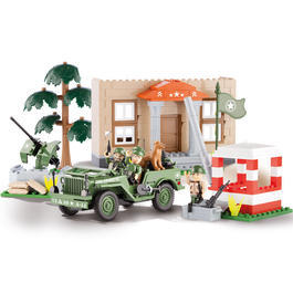 Cobi Small Army Bausatz Jeep Willys MB mit Barracks und Checkpoint 300 Teile 24302
