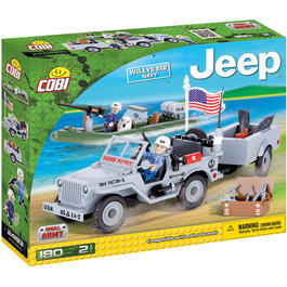 Cobi Small Army Bausatz Jeep Willys MB mit Anhänger Navy Set 180 Teile 24193