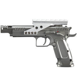 Luft-Pistolen - Cybergun Tanfoglio Gold Custom Racegun Vollmetall CO2 BlowBack 4,5 mm BB grau