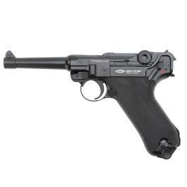 Freizeit Luftdruckwaffen - GletcherParabellumCO2 Luftpistole4,5 mm BBVollmetall Blowbackschwarz