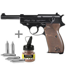 Blowback - Walther P38 CO2 Pistole inkl. CO2 Kapseln u. Carbonstahl-BBs