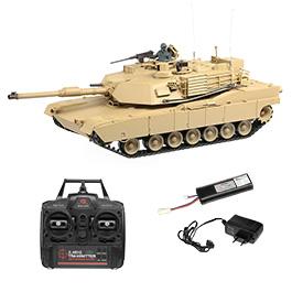 Heng Long RC Panzer M1A2 Abrams desert 1:16 schussfähig, Rauch & Sound RTR