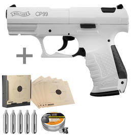 Walther Luftpistolen - Walther CP99 Snowstar CO2 Luftpistole 4,5 mm Diabolo inkl. Kugelfang, Diabolos, CO2 Kapseln