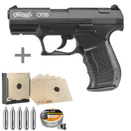 Walther CP99 CO2 Luftpistole 4,5 mm brüniert inkl. Kugelfang, Diabolos, CO2 Kapseln