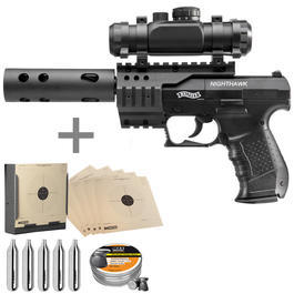 Walther Tactical - Walther Nighthawk CO2 Luftpistole inkl. RedDot, Kompensator, Kugelfang, Diabolos, CO2 Kapseln