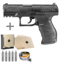 Walther Luftpistolen - WaltherPPQ CO2 Luftpistole 4,5mm inkl. Kugelfang, Diabolos, CO2 Kapseln