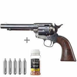 Gaswaffen - Colt Single Action Army 45 blue CO2 Revolver 4,5 mm BB Starterset
