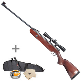Hämmerli Hunter Force 600 Combo Luftgewehr 4,5 mm inkl. Zielfernrohr, Futteral, Diabolos, Zielscheiben