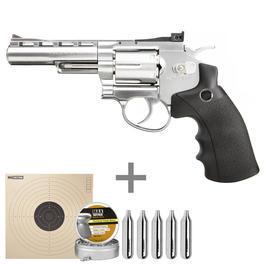 Luft-Pistolen - Legends S40 CO2 Revolver 4 Zoll Kal. 4,5mm Diabolochrom inkl. Diabolos, Zielscheiben, CO2 Kapseln
