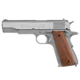 Swiss Arms SA1911 Seventies Stainless CO2-Luftpistole Kal. 4,5 mm BB Vollmetall Blowback