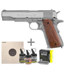 Luftpistolen - Swiss Arms SA1911 Seventies CO2 Luftpistole Metall Blow Back 4,5 mmBBinkl. CO2 Kapseln, Stahlrundkugeln u. Zielscheiben