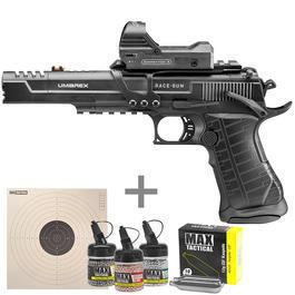 Umarex Race Gun CO2 Luftpistole Blow Back 4,5mm BB m. Leuchtpunktvisier, CO2 Kapseln, Stahlrundkugeln u. Zielscheiben