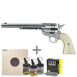 Colt Army 45 7,5'' Co2-Revolver 4,5 mm BB nickel weiße Griffschalen Komplettset