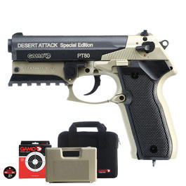 Gamo PT-80 Desert Attack CO2-Luftpistole 4,5 mm Diabolo inkl. Tasche, Koffer, Zielscheiben und Diabolos