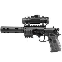 Umarex Walther - Beretta M92 FS XX-TREME VollmetallCO2 Pistole 4,5mm Diabolo inkl. Montage, Leuchtpunktzielgerät und Kompensator