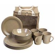 Highlander Picknick-Set 16-teilig natural beige