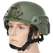 Nuprol MICH 2000 Railed Airsoft Helm mit NVG Mount oliv