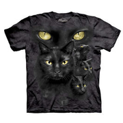Mountain T-Shirt Black Cat Moon