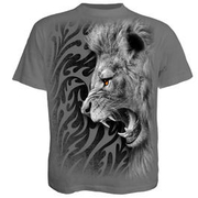 Spiral T-Shirt Tribal Lion grau