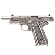 Wei-ETech M1911 Double Barrel Etched Version Mehico Druglord Vollmetall GBB 6mm BB Satin-Chrome