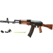 Well AK74M Softair Komplettset AEG 6mm BB schwarz / Holzoptik