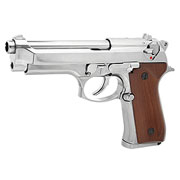KLI M92 Vollmetall GBB 6mm BB Platinum Chrome-Finish / Holzgriffschalen