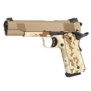 Nuprol Raven M1911 MEU Vollmetall GBB 6mm BB Tan / Digital Desert