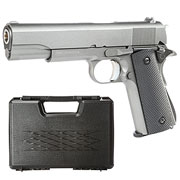 Well M1911A1 Vollmetall CO2 Blowback 6mm BB grau inkl. Koffer
