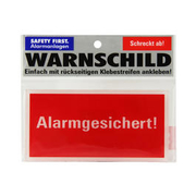 Safety First Warnschild Alarmgesichert!