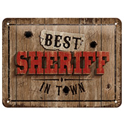 Blechschild Best Sheriff in Town 15 x 20 cm