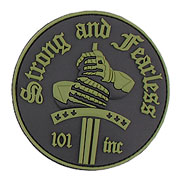 3D Rubber Patch Strong and Fearless grün