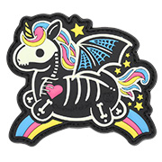 JTG 3D Rubber Patch mit Klettfläche Skeleton Unicorn glow in the Dark