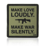 101 INC. 3D Rubber Patch Make love loudly oliv/schwarz