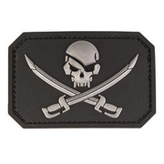 3D Rubber Patch Skull w. Swords schwarz