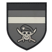3D Rubber Patch German Commando Skull grau